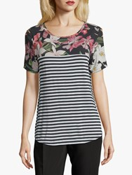 Betty And Co. Floral Stripe Top Cream Black