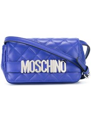 Moschino Logo Quilted Crossbody Bag Blue