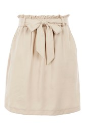 Topshop Paper Bag Tie Mini Skirt Beige