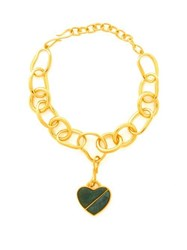 Lizzie Fortunato Porto Heart Gold Plated Necklace Green