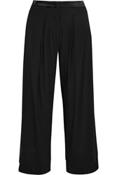 Donna Karan Satin Trimmed Crepe Wide Leg Pants Black