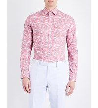 Duchamp Floral Print Tailored Fit Cotton Shirt Pink