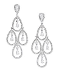 Nadri Cubic Zirconia Chandelier Drop Earrings Silver