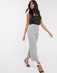 Fashion Union Knitted Wide Leg Trousers Grey
