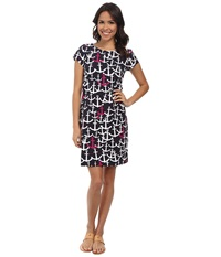 Hatley T Shirt Dress Scattered Anchors Fuchsia Women's Dress Black