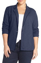 Caslon Plus Size Women's One Button Knit Blazer Navy Peacoat