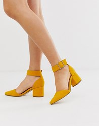 Call It Spring By Aldo Agraleria Ankle Strap Heeled Pumps In Mustard Yellow