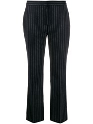 Alexander Mcqueen Pinstripe Cropped Trousers Blue
