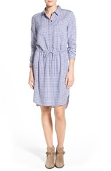 Women's Caslon Drawstring Waist Shirtdress Ivory Blue Tile Print