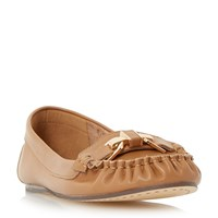 Dune Gilda Metal Trim Moccasin Loafers Tan