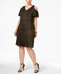 Msk Plus Size Cold Shoulder Glitter Dress Black Gold