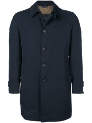 Dell'oglio Straight Fit Buttoned Coat Blue