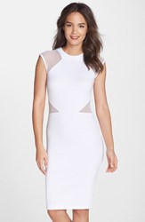 Women's French Connection 'Viven' Mesh Inset Body Con Dress Summer White