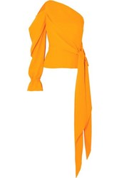 Roland Mouret One Shoulder Draped Crepe Top Yellow