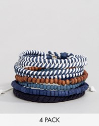 Icon Brand Nautical Bracelets In 4 Pack Navy