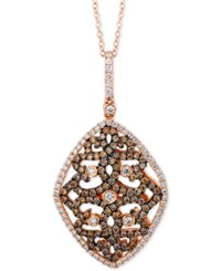 Le Vian Chocolatier Chocolate And White Diamond Swirled Pendant Necklace 1 1 10 Ct. T.W. In 14K Rose Gold