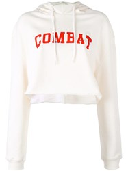 Msgm 'Combat' Print Cropped Hoodie White