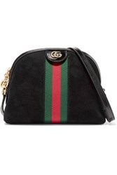 Gucci Ophidia Patent Leather Trimmed Suede Shoulder Bag Black