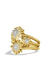 David Yurman Starburst Cluster Ring With Diamonds In Gold Yellow Gold White Diamonds