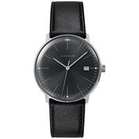 Junghans 041 4465.00 Men's Max Bill Date Leather Strap Watch Black