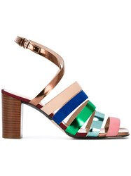 Paul Smith Ps By Strappy Block Heel Sandals Metallic