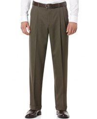 Perry Ellis Portfolio Classic Fit Double Pleat No Iron Melange Microfiber Dress Pants Maple Brown Fir