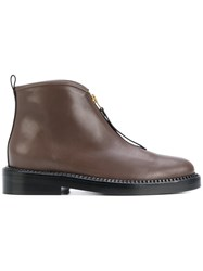 Marni Zip Ankle Boots Women Leather 40 Brown