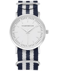 Charter Club Women's Silver Tone Striped Fabric Strap Watch 36Mm 17761 Only At Macy's Navy White