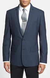 Men's Big And Tall Calibrate Trim Fit Wool And Mohair Blazer Postman Blue