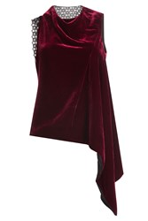 Roland Mouret Velvet Top With Asymmetric Hemline And Lace Red