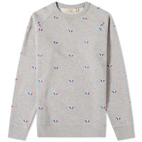 Maison Kitsune All Over Tricolour Fox Embroidery Crew Sweat Grey