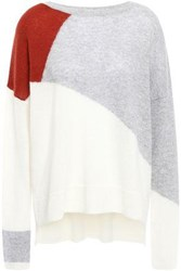 Charli Woman Color Block Cashmere Sweater Stone