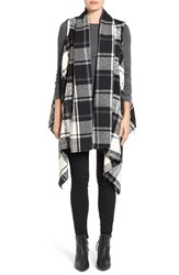 Press Women's Drape Raw Edge Plaid Vest