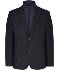 Austin Reed Regular Fit Zip Out Collar Blazer Navy