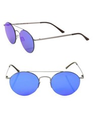 Kyme Leon3 49Mm Round Mirrored Sunglasses Blue