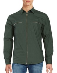 Laboratory Lt Man Cotton Exposed Zipper Sportshirt Dark Green