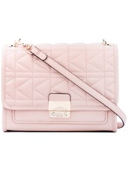 Karl Lagerfeld Foldover Quilted Shoulder Bag Women Leather One Size Pink