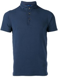 Barba High Neck Polo Shirt Blue