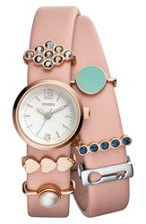 Fossil Women's 'Georgia' Charm Leather Strap Watch Set 21Mm Pink Silver Pink Silver