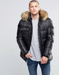 Sik Silk Siksilk Padded Parka Jacket With Faux Fur Hood Black