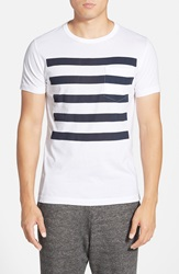 French Connection 'Chatsworth Space Stripe' T Shirt White Marine Blue
