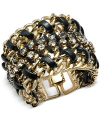 Thalia Sodi Gold Tone Faux Leather Crystal Wrap Bracelet Only At Macy's