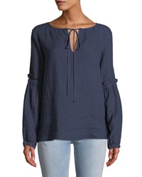Allen Allen Tie Neck Long Sleeve Linen Blouse Blue