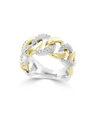 Effy Duo Diamond 14K White And Yellow Gold Studded Chain Link Ring