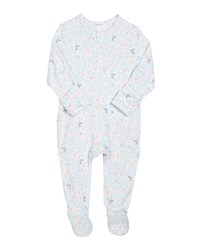 Angel Dear Floral Bunny Zip Front Footie Pajamas Size 0 9 Months Pink