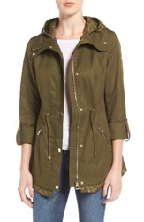 Guess Women's City Roll Sleeve Anorak Olive