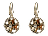 Guess Sculpted Flower Drop Earrings Rose Gold Crystal Earring