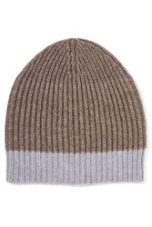 Duffy Ribbed Wool Blend Beanie Taupe