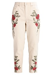Topshop Petite Rose Mom Jeans Tapered Fit Cream Off White