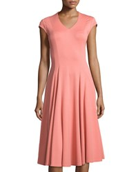 Lafayette 148 New York Seamed V Neck Fit And Flare Dress Pink